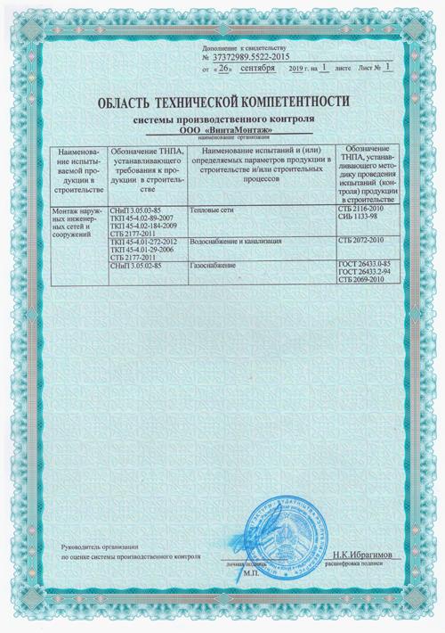 Область технической компетентности-ВинтаМонтаж Тепловые сети Водоснабжение и канализация Газоснабжение