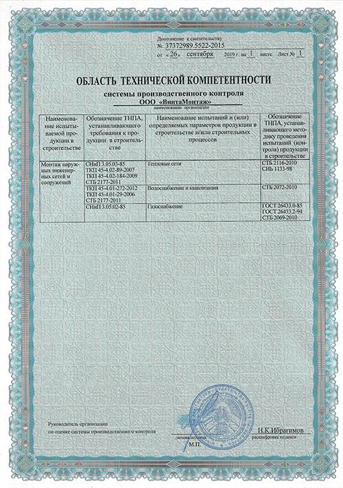 Область технической компетентности системы производственного контроля